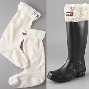 Hunter Boots Cable Cuff Welly Socks Cream M